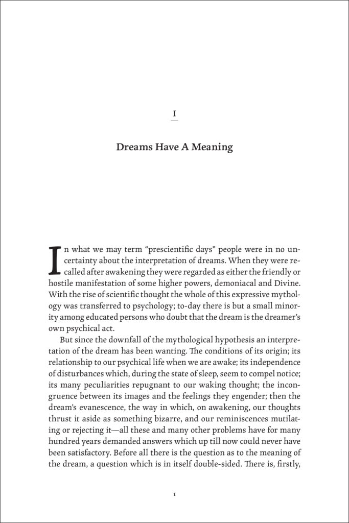 A sample page showing the use of a 3-line drop cap in the same typeface as the main text.