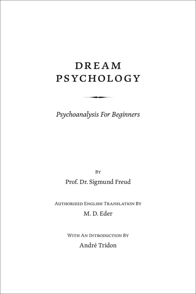 """A sample page showing the use of a (subtle) glyph—the fancy line underneath """"Dream Psychology."""""""