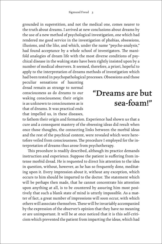 A sample page showing a pull quote. This pull quote is set in the same typeface as the main text and sticks into the outer margin slightly.