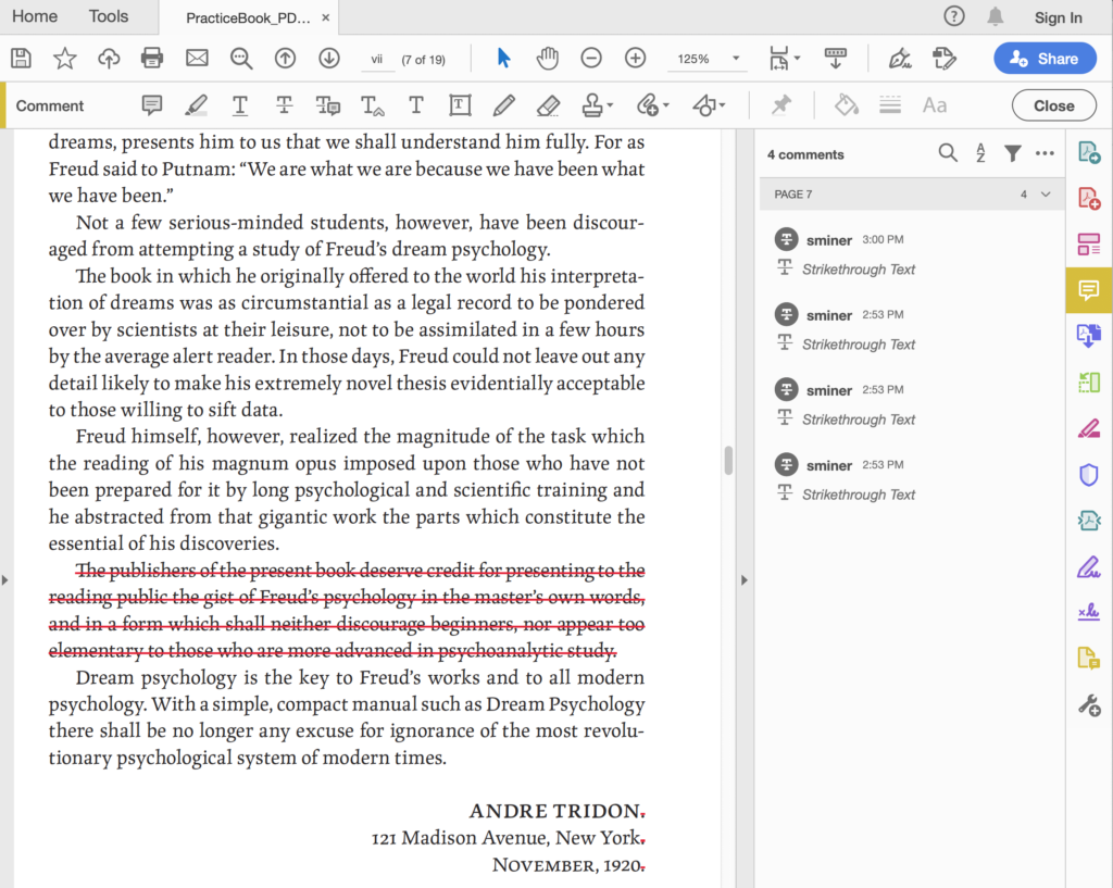 An example of the Strikethrough Text Tool. Four edits were made—one large deletion of a paragraph, along with the three small removals of a period at the end of the last three lines in this section.